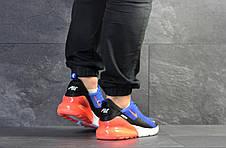 Мужские кроссовки Nike Air Max 270,сетка,синие с оранжевым, фото 3