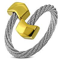 Женское серебристое кольцо-струна 316 Steel золотой