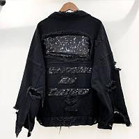 Женская короткая джинсовая куртка рванка с пайетками на спине черная, фото 1