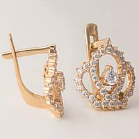 Золотые серьги корона с фианитами. ГП41106
