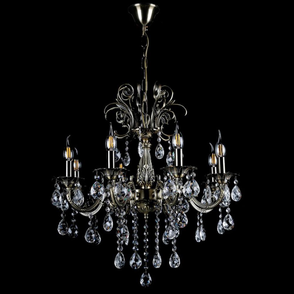 Классическая люстра-свеча на 8 лампочек СветМира VL-442/8 (античная бронза)