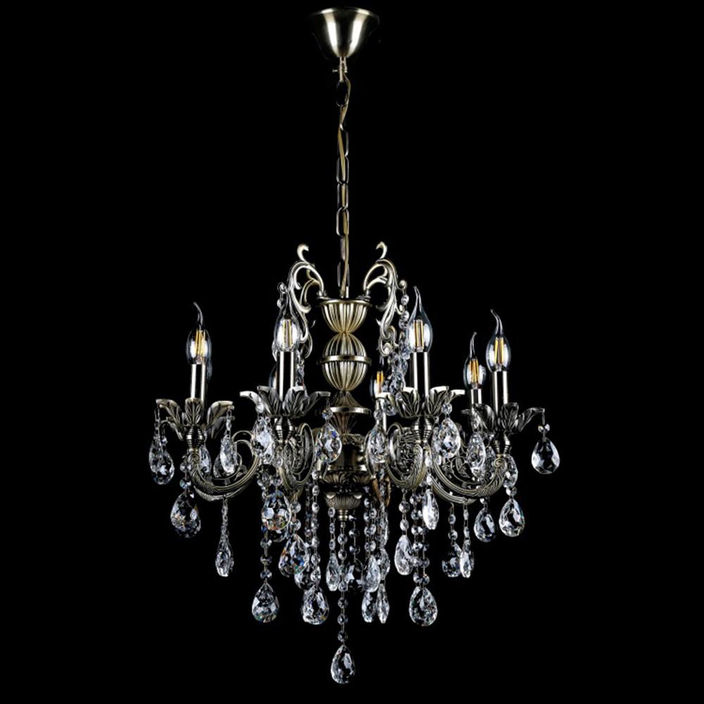 Классическая люстра-свеча на 8 лампочек СветМира VL-424/8 (античная бронза)