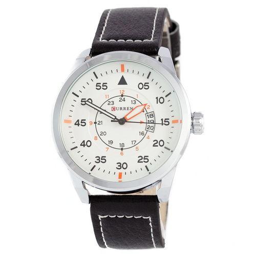 Часы Мужские Curren Silver-Black White dial 8210-2 Чоловічий годинник, ремінець. ГАРАНТИЯ!
