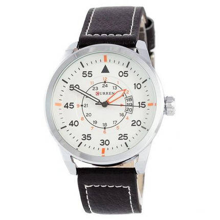 Часы Мужские Curren Silver-Black White dial 8210-2 Чоловічий годинник, ремінець. ГАРАНТИЯ!, фото 2