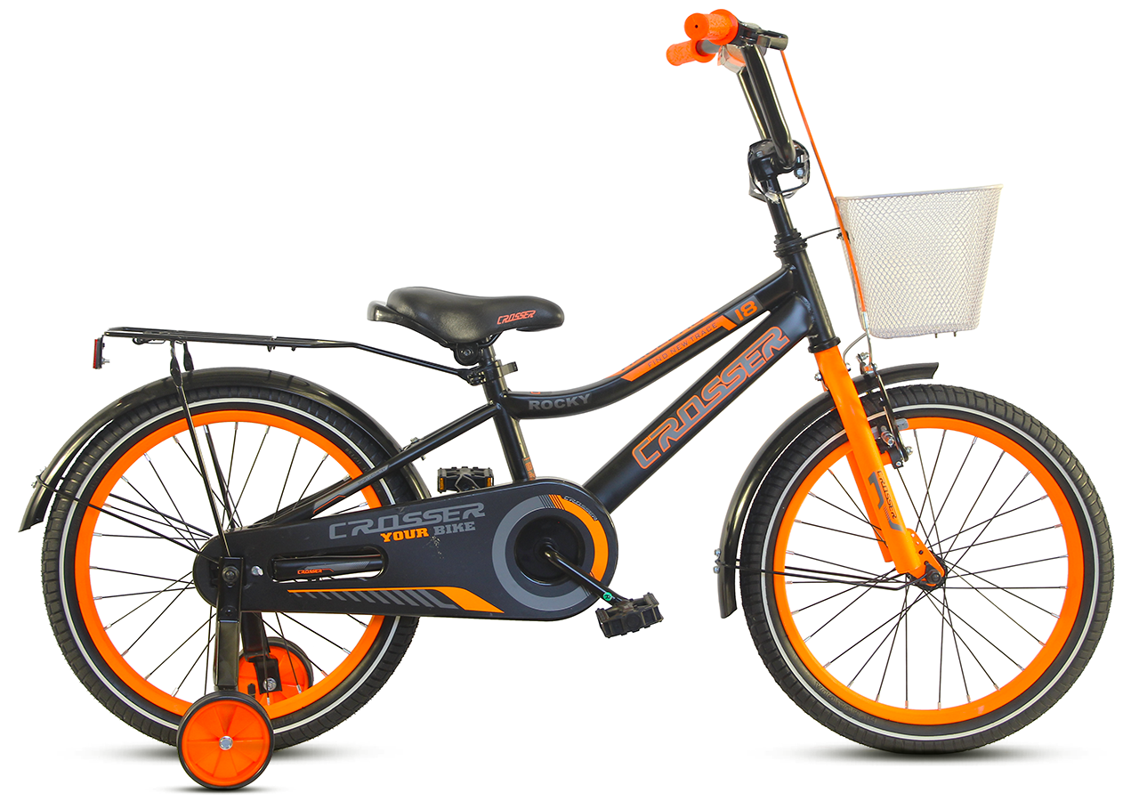 """Детский велосипед CROSSER ROCKY 18""""  Черный/Оранжевый"""
