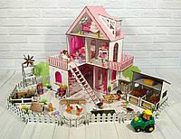Домики для маленьких кукол Домик «Солнечная Дача» + мебель + текстиль + ФЕРМА высота этажа - 20 см