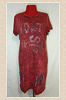 Модное женское трикотажное турецкое платье под джинс,полубатал, р.48-52, фото 1