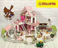 Домики для маленьких кукол Домик «Солнечная Дача» + мебель + текстиль + ДВОРИК + ФЕРМА высота этажа - 20 см