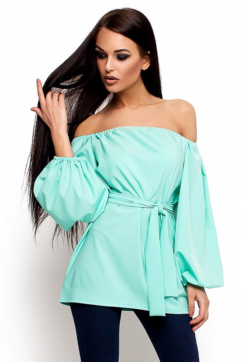 (S-M) Жіноча бірюзова повсякденна блузка Lory