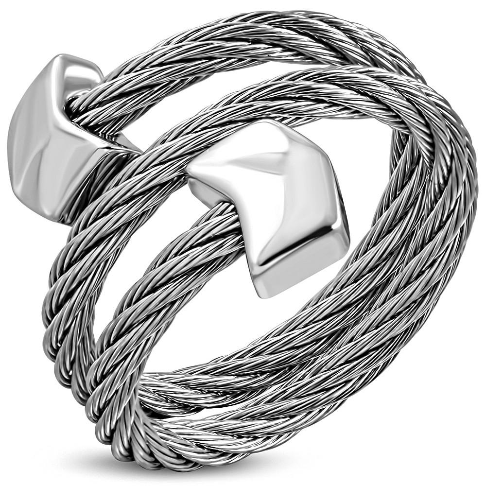 Жіноче сріблясте подвійне кільце-струна 316 Steel