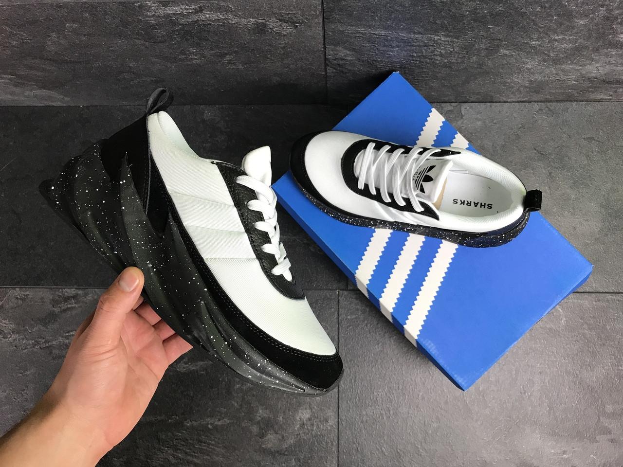 Мужские кроссовки Adidas Sharks (бело-черные)