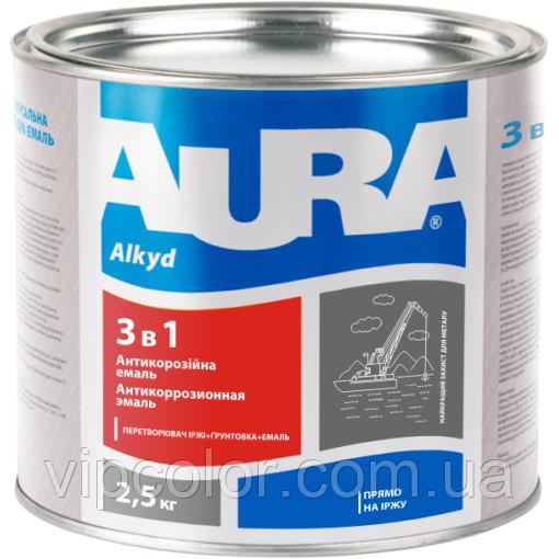 Aura 3в1 Красно-коричневая 2,5 кг грунт-эмаль для внутренних и наружных работ арт.4820140314661