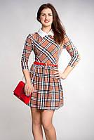 Платье женское молодежное Клетка капучино р.46-48 V183-1