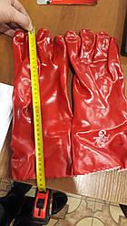 Рукавичка маслостійке х/б трикотаж покритий PVC, 35 см (червона)