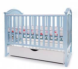 Детская кроватка Twins I love маятник/ящик голубой (Твинс)