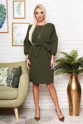 """Нарядное свободное платье миди с пояском и широкими рукавами с рюшей """"Марла"""" хаки"""