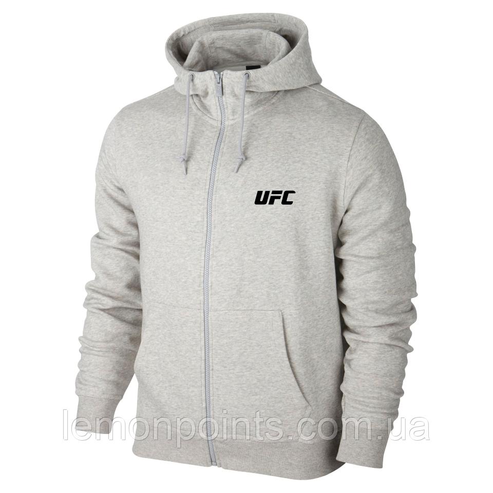 Мужская толстовка с капюшоном, худи, кенгурушка серая на змейке UFC E269