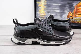 Мужские кожаные кроссовки Karo (Каро) - черные, Украина
