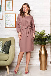 """Элегантное свободное платье миди с пояском и широкими рукавами с рюшей """"Марла"""" капучино"""