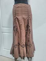 Юбка длинная полиэстер цвет-коричневый 44р-46р