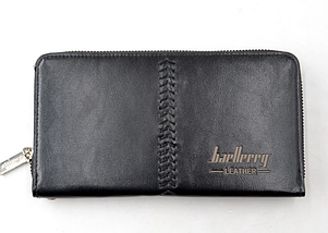 Портмоне Baellerry Leather Model 1 SW008 чорний гаманець для чоловіків стильне якісне портмоне, фото 3