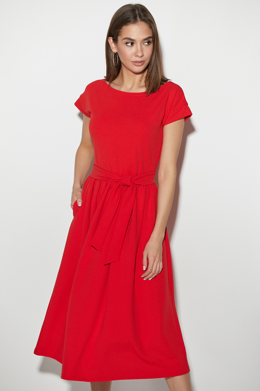 3b5b2805564 Модное платье миди юбка солнце клеш карманы пояс короткий рукав красного  цвета -