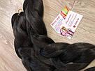 🖤 Канекалон Однотонный, пряди цветные искуссвенных волос для кос, черный 🖤, фото 3
