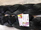 🖤 Канекалон Однотонный, пряди цветные искуссвенных волос для кос, черный 🖤, фото 4