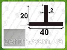 Алюминиевый тавр (Т-образный профиль) 20*40*2, Серебро (анод)