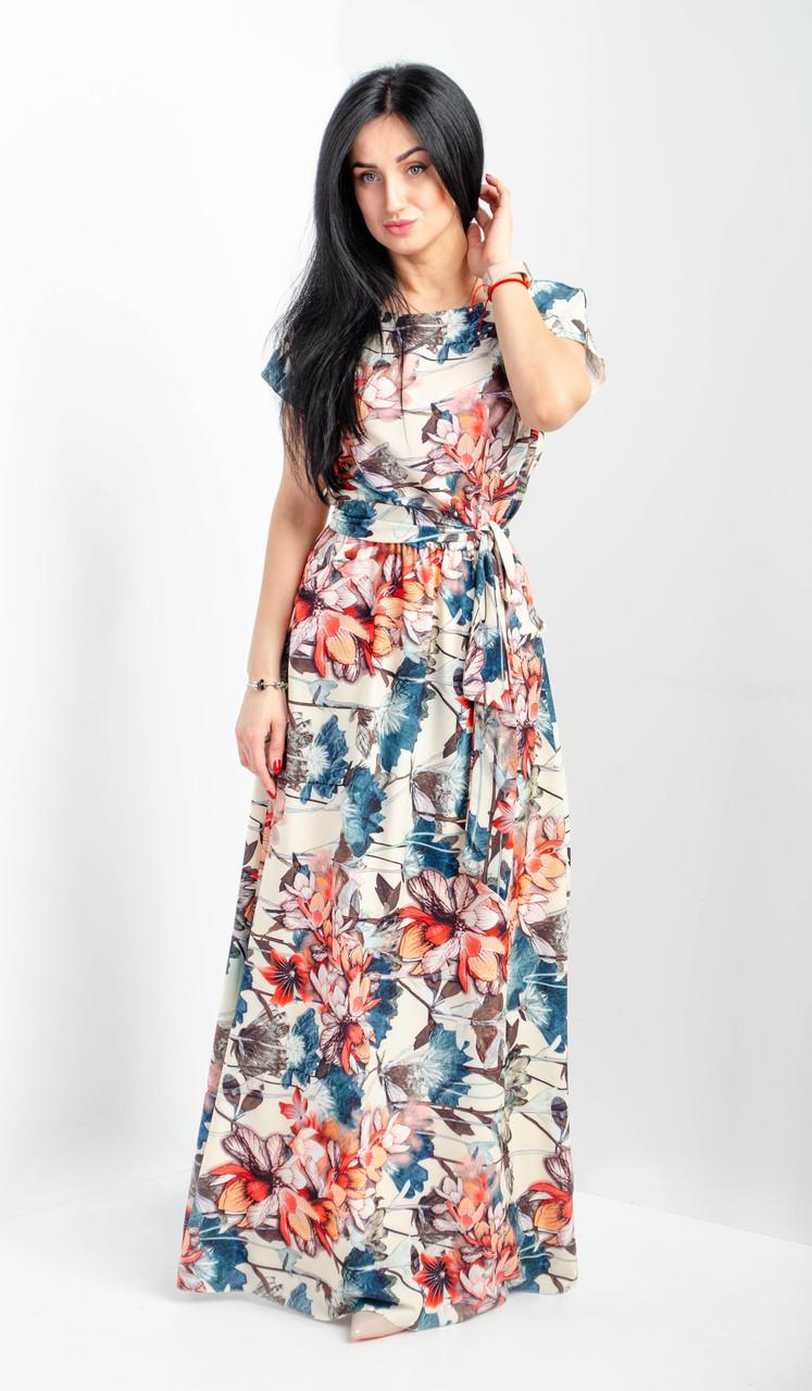 91cc326c34e Летнее длинное женское платье с цветочным принтом - Интернет-магазин  Buyself.com.ua