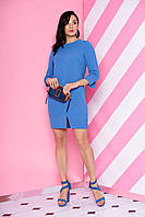 """Коктейльное платье выше колен с треугольным вырезом по спинке """"S-68"""" голубое"""