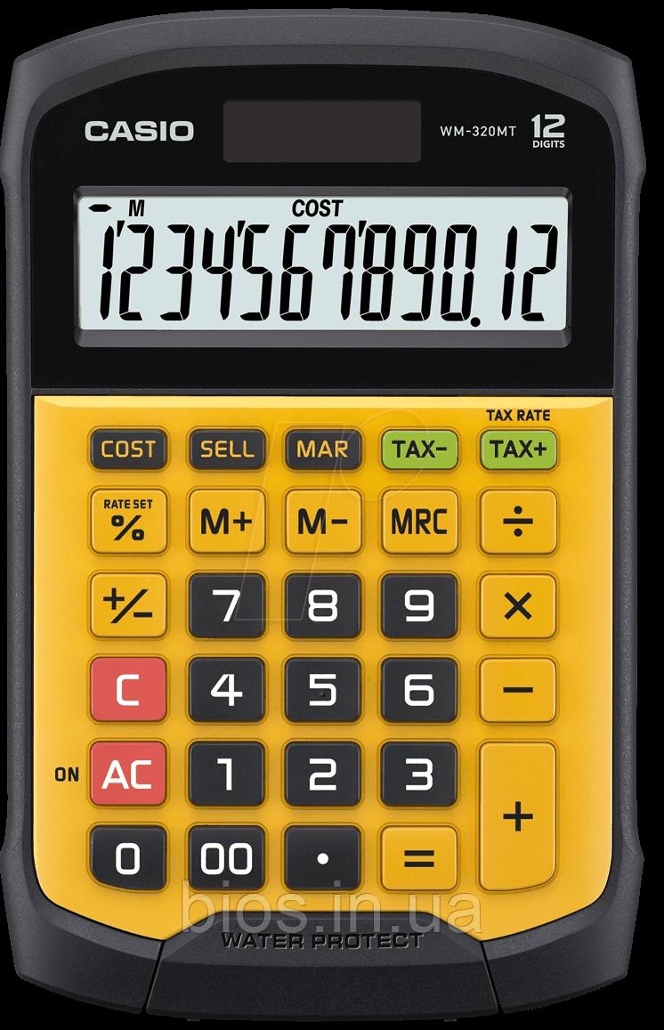 Калькулятор настіл. Casio WM-320MT-S-EC 12 водостійкий, від бруду і пилу