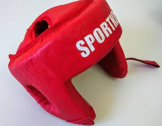 Открытый боксерский шлем. Шлем для боксеров (кожвинил). КРАСНЫЙ.