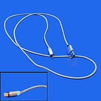 Качественный магнитный кабель Ninja USB - MicroUSB 1м, 2А с индикатором