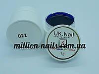 Гель-краска  для ногтей UK.Nail №21 цвет синий электрик ,7 грамм, фото 1