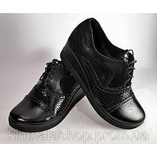 Туфлі жіночі шкіряні на танкетці чорні Helena Black , весна/осінь, розмір 36-41