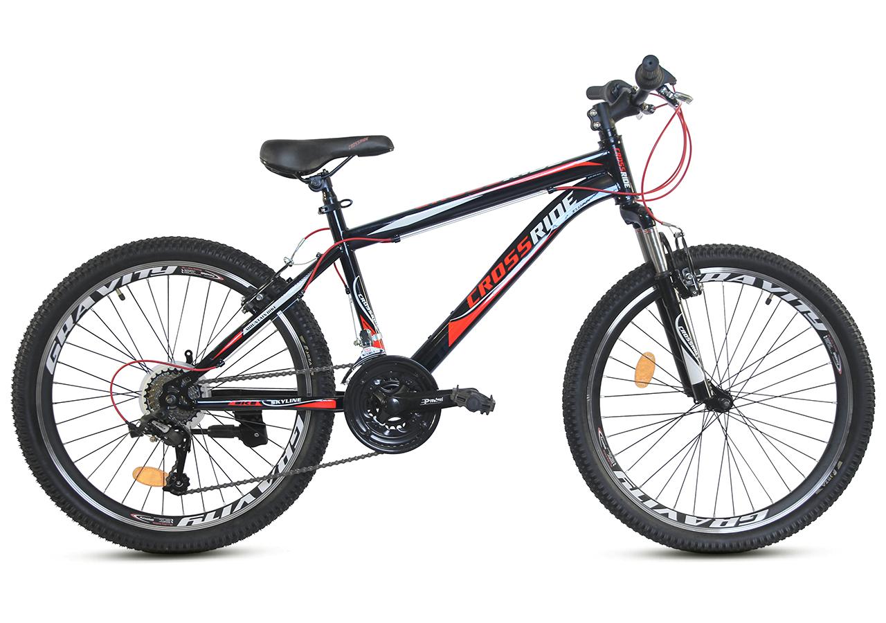 """Подростковый велосипед CROSSRIDE """"SKYLINE"""" 24"""" с крепкой стальной рамой, Черно-красный"""