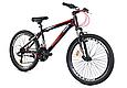 """Подростковый велосипед CROSSRIDE """"SKYLINE"""" 24"""" с крепкой стальной рамой, Черно-красный, фото 2"""