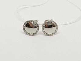 Серебряные пуссеты с фианитами. Артикул СП176с