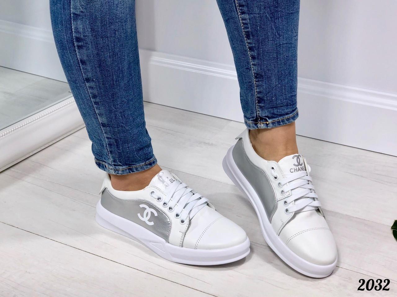 32c2f8b9 Кроссовки Chanel белые с серебром. Натуральная кожа. Аналог - Интернет-магазин  обуви TINA