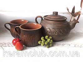 Набір з червоної глини заварник 1 л і 2 чашки 350 мл
