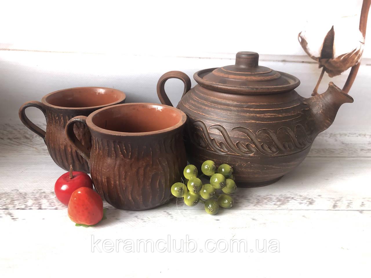 Набор из красной глины заварник 1 л и 2 чашки 350 мл