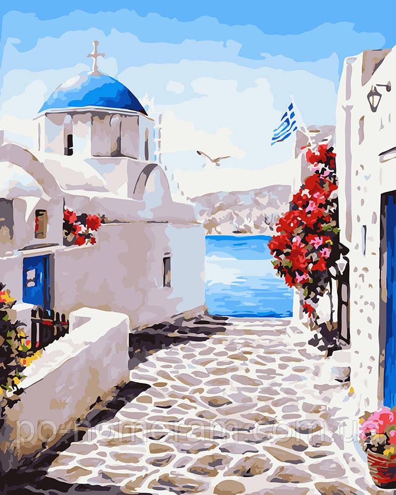 Картина раскраска Сказочные улочки Санторини (BRM27704) 40 х 50 см