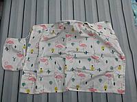 Накидка для кормления + сумочка-чехол Фламинго