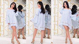 Легкое летнее хлопковое платье разлетайка с открытыми плечами, батал большие размеры