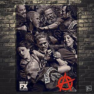 Постер Сыны Анархии, Sons Of Anarchy, SoA. Размер 60x40см (A2). Глянцевая бумага