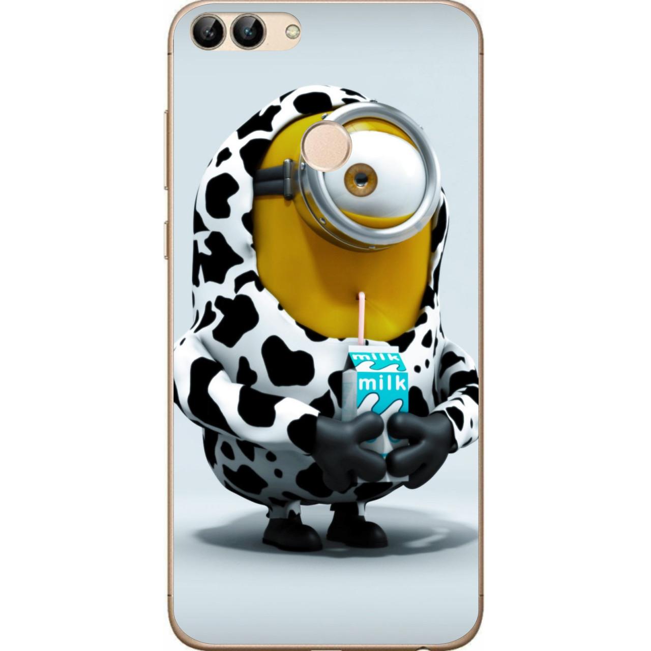 Силиконовый чехол бампер для Huawei P Smart с картинкой Миньон с молоком