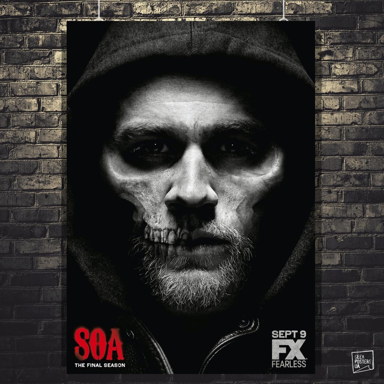 Постер Сыны Анархии, Sons Of Anarchy, SoA. Размер 60x43см (A2). Глянцевая бумага