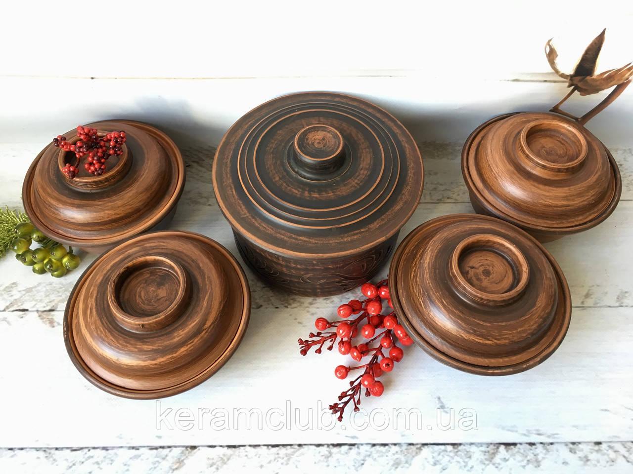Набор из красной глины для запекания кастрюля 1,7 л и 4 факира 450 мл