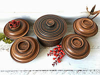 Набор из красной глины для запекания кастрюля 1,7 л и 4 факира 450 мл , фото 1